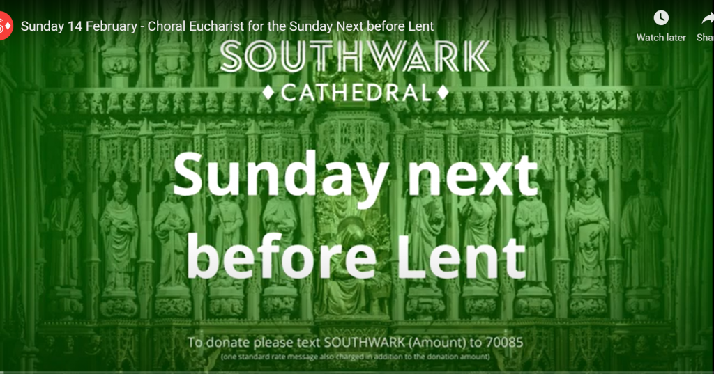 14th Feb -Sunday Next before Lent